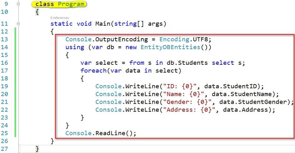 viết code entity framework
