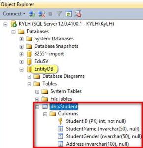 database entity student