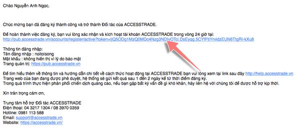 mail xác nhận đăng kí accesstrade