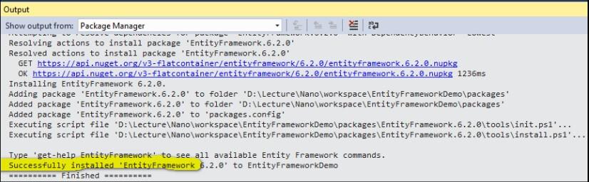 setup entity framework done