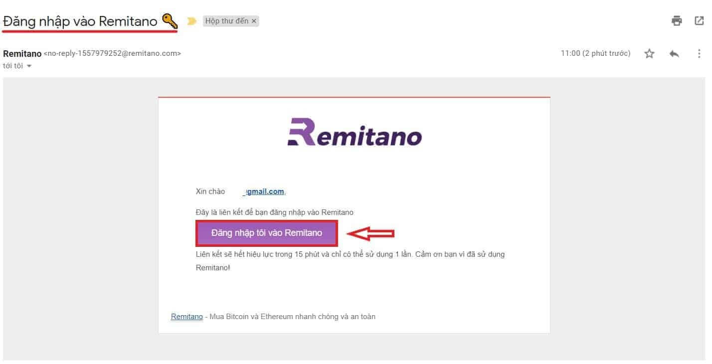 Đăng nhập vào Remitano