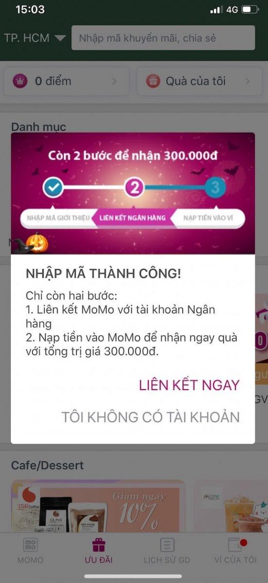 liên kết momo với tài khoản ngân hàng
