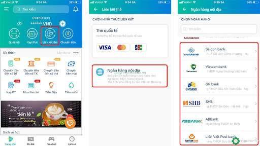liên kết viettel pay với ngân hàng