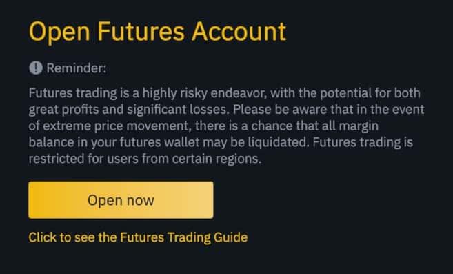 mở tài khoản futures binance