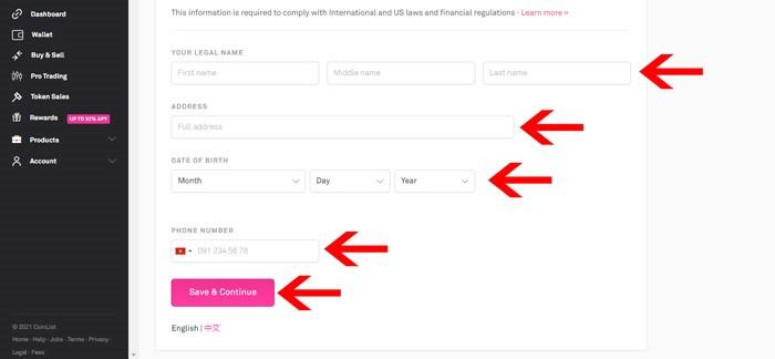 kyc tài khoản coinlist bước 4