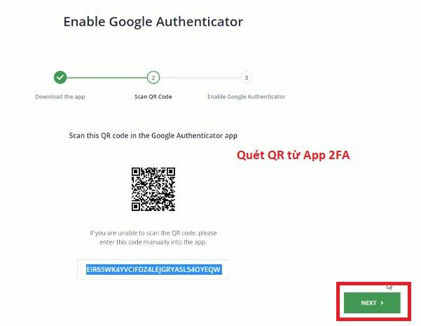 quet QR từ app 2FA