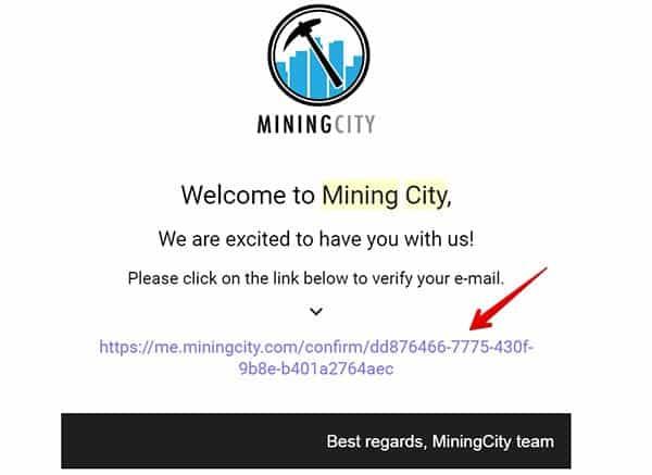 link xác nhận đăng kí mining city