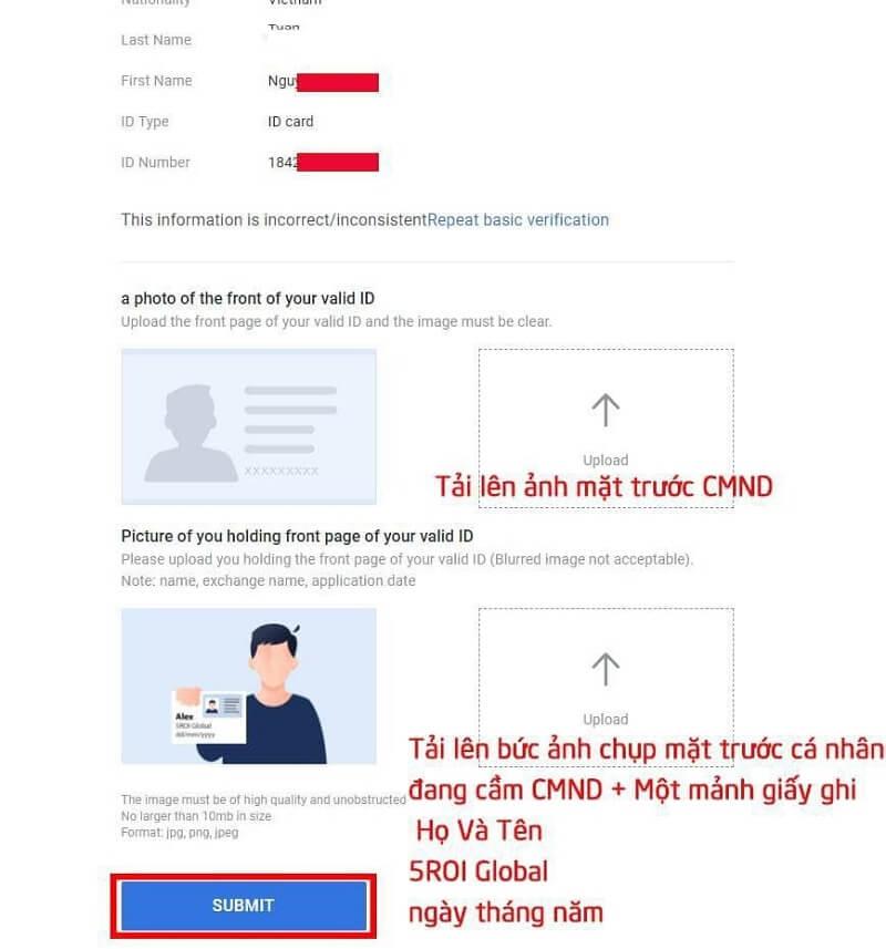 thông tin xác minh danh tính bước 2