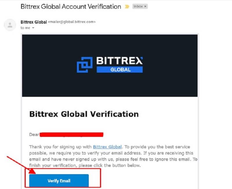 xác nhận mail từ bittex